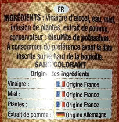 Essig - Ingrédients - fr