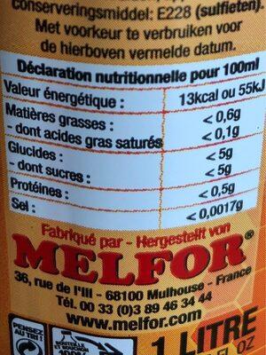 Essig - Informations nutritionnelles - fr