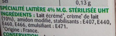 Crème semi épaisse 4% - Ingrédients