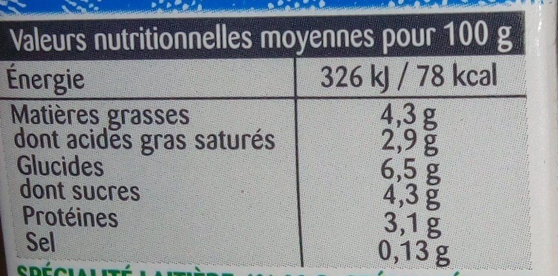 Crème semi épaisse 4% - Informations nutritionnelles