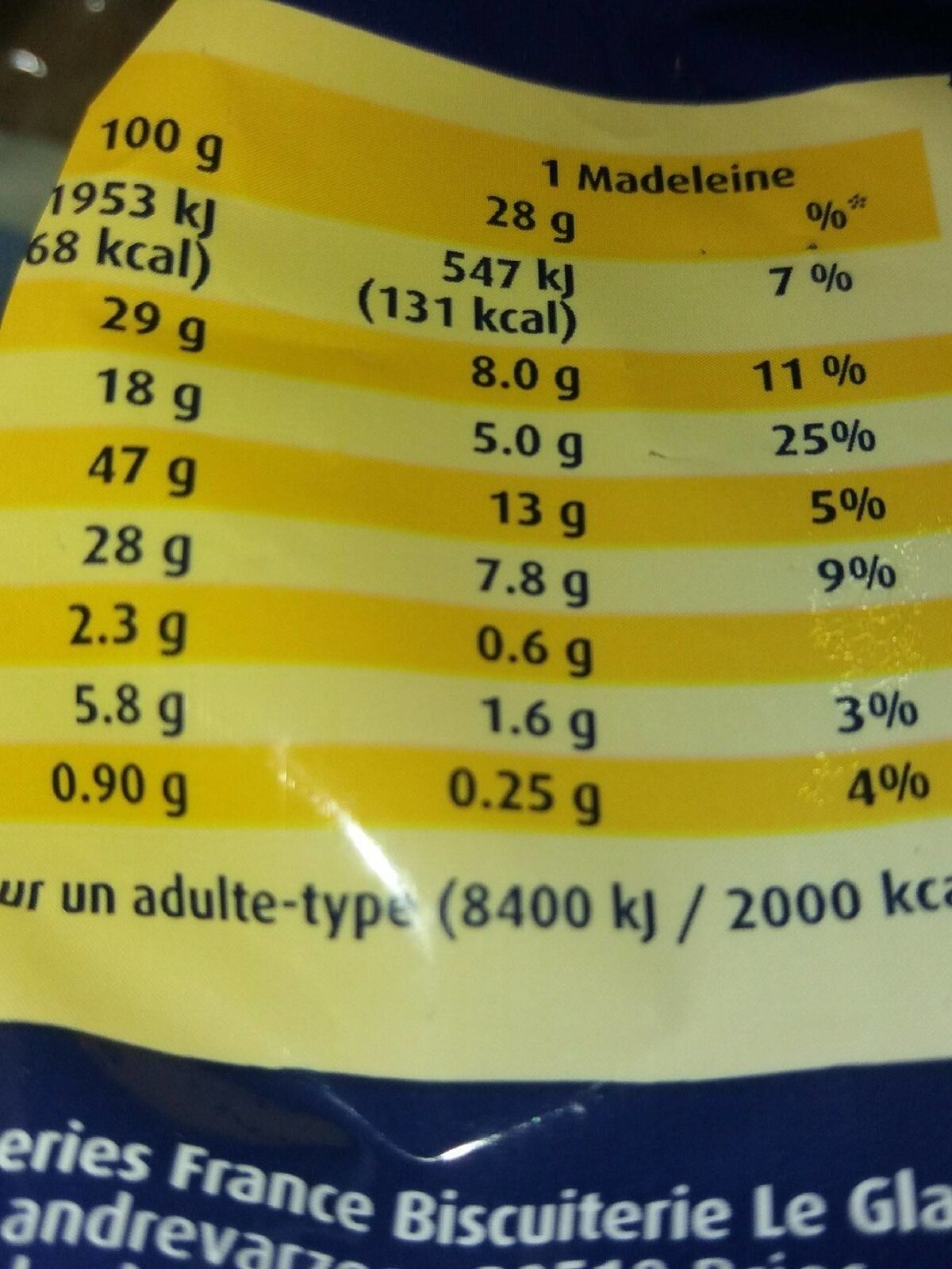 Madeleine marbrées Le Glazik - Nutrition facts