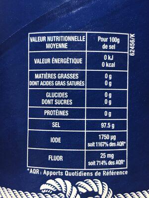 Sel fin iodé et fluoré - Nutrition facts - fr
