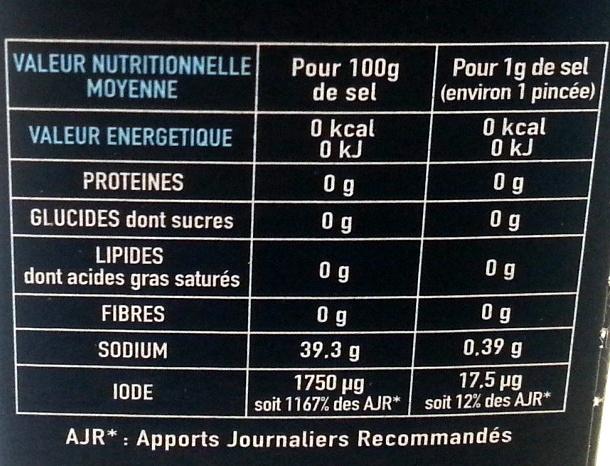 sel de mer la baleine - Informations nutritionnelles - fr