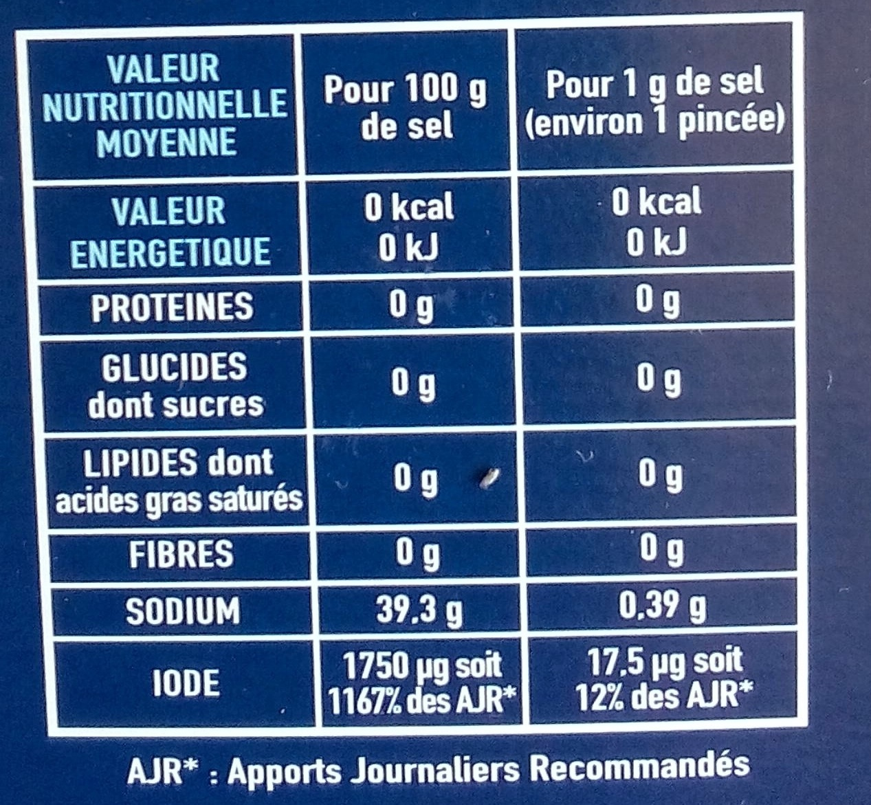 Gros sel iodé La Baleine - Nutrition facts