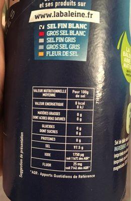 Sel de mer - Nutrition facts