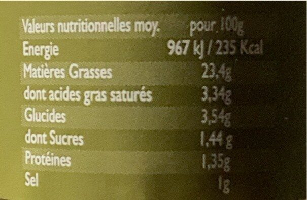 Artichonade - Valori nutrizionali - fr