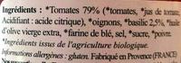 Concassé de tomates basilic biologique - Ingrédients