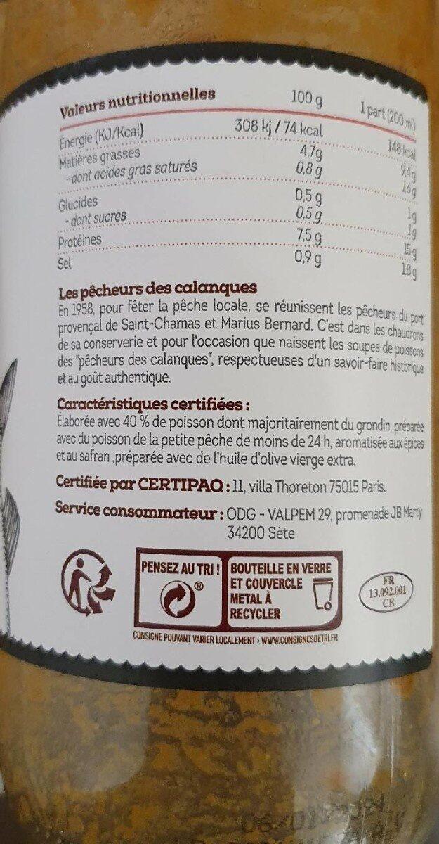 soupe de poisson - Información nutricional - fr