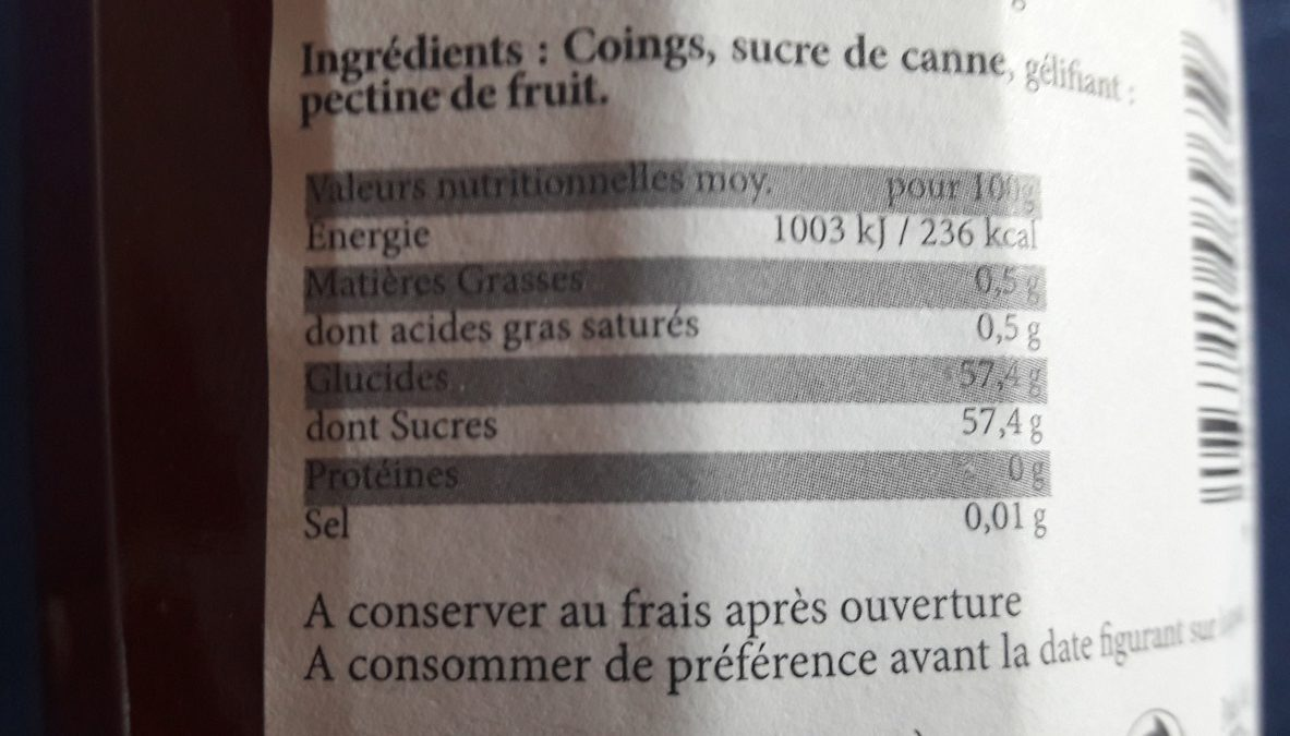 Confiture extra de coing - Ingredients - fr
