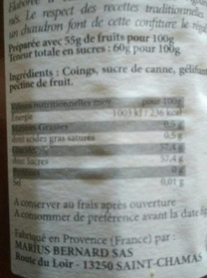 Confiture extra de coing - Nutrition facts