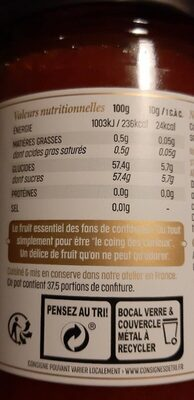 Confiture extra de coing - Nutrition facts - fr