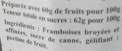 Confiture extra framboise épépinée - Ingredients