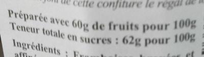 Confiture extra framboise épépinée - Nutrition facts