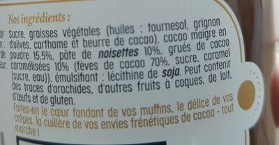 Pâte à tartiner cacao et Grués de cacao - Inhaltsstoffe - fr