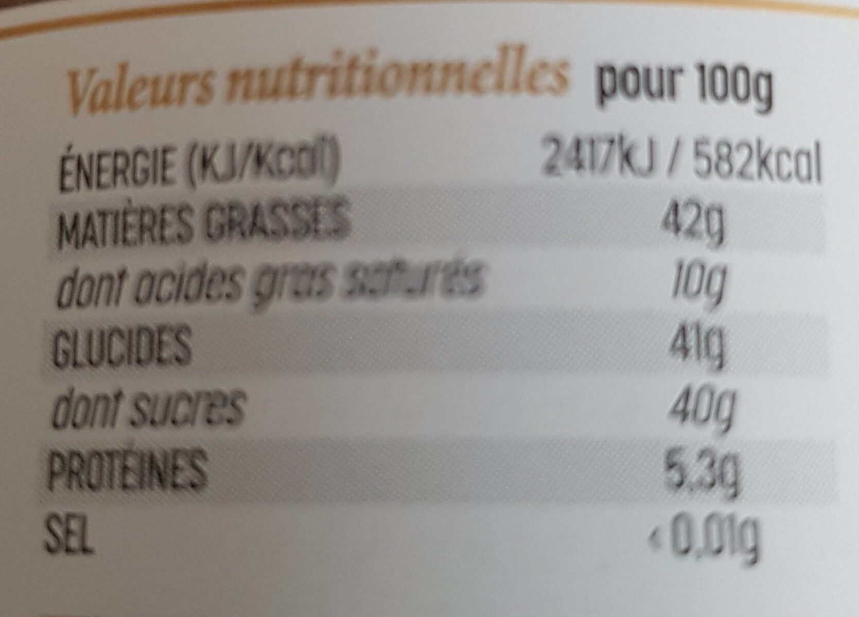 Pâte à tartiner cacao et Grués de cacao - Nährwertangaben - fr