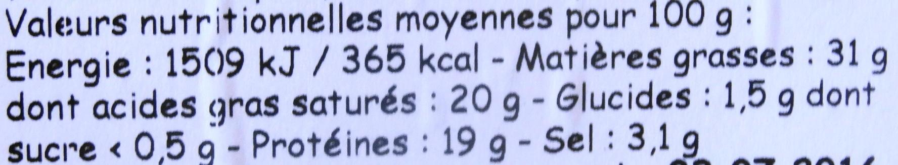 Roquefort Vernières frères - Informations nutritionnelles - fr