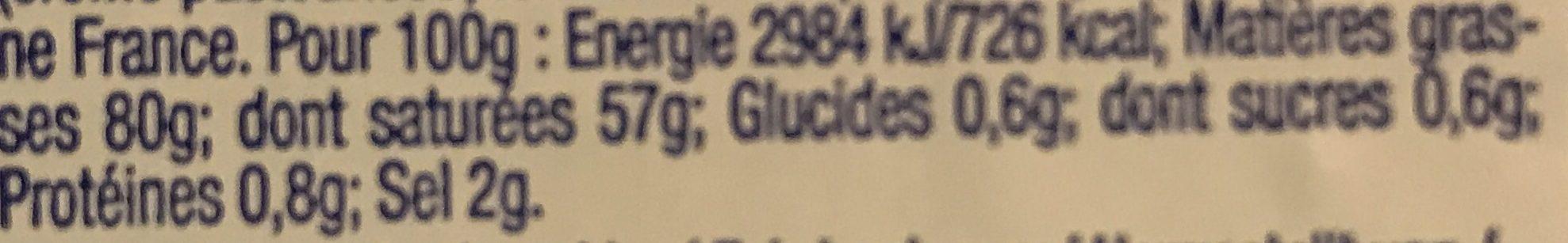 Slightly Salted Butter - Informations nutritionnelles - en