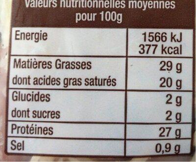 EMMENTAL RAPE - Voedingswaarden - fr