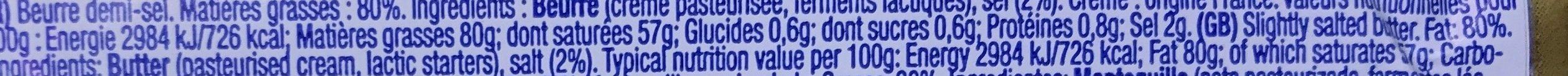 Le Beurre Demi-Sel - Voedingswaarden - fr