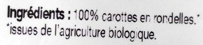 Carottes en Rondelles Bio Surgelées - Ingrédients - fr