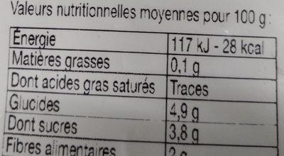 Carottes en Rondelles Bio Surgelées - Informations nutritionnelles - fr