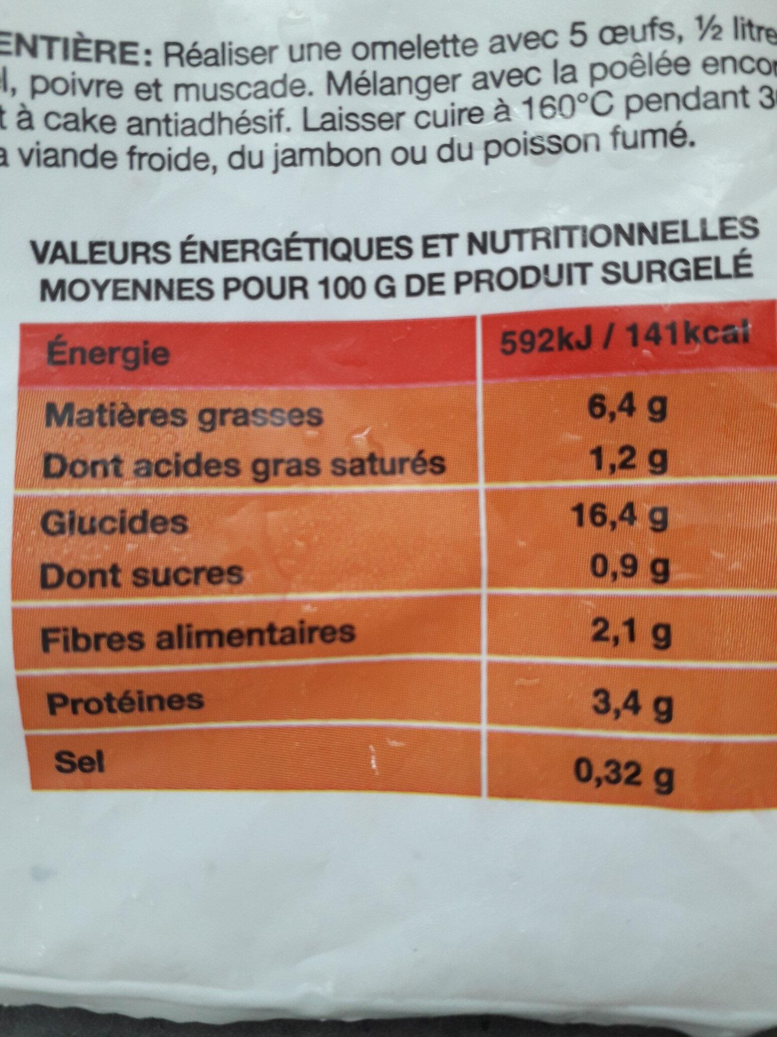 Poêlée Fermière - Informations nutritionnelles - fr