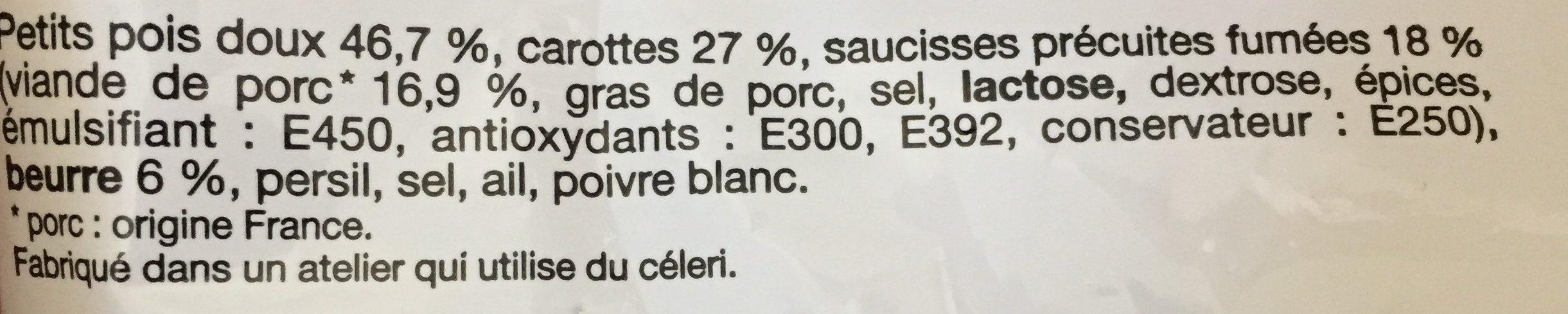 Saucisse fumée Pois et Carottes - Ingredients