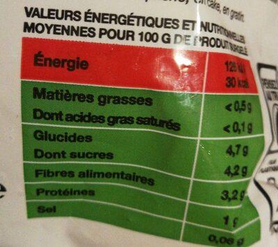 Duo carottes rouges et jaunes - Informations nutritionnelles - fr