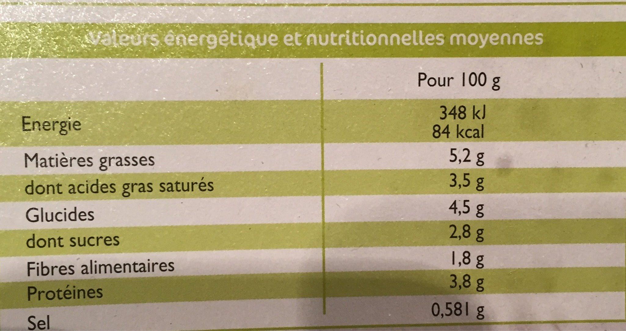 Gratin de Choux-Fleurs - Voedingswaarden - fr