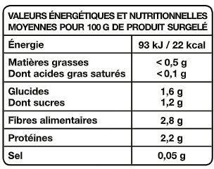 Duo chou-fleurs et brocolis - Informations nutritionnelles - fr