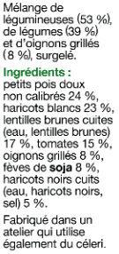 Plaisirs Veggie - Mélange légumineuses - Ingrédients - fr
