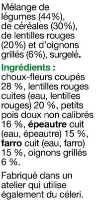 Plaisirs Veggie - Mélange légumes & céréales - Ingrédients - fr