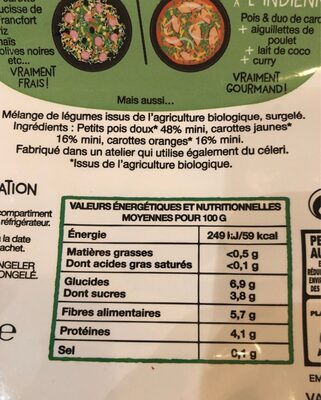 Petits pois duo de carottes BIO - Voedingswaarden - fr