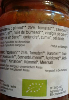 Harissa Demeter - Ingredients - fr