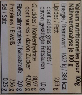 Boudoirs Epeautre - Informations nutritionnelles - fr