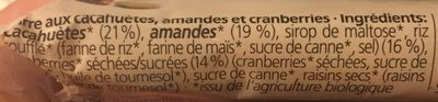Barre cranberries et amandes - Ingredients