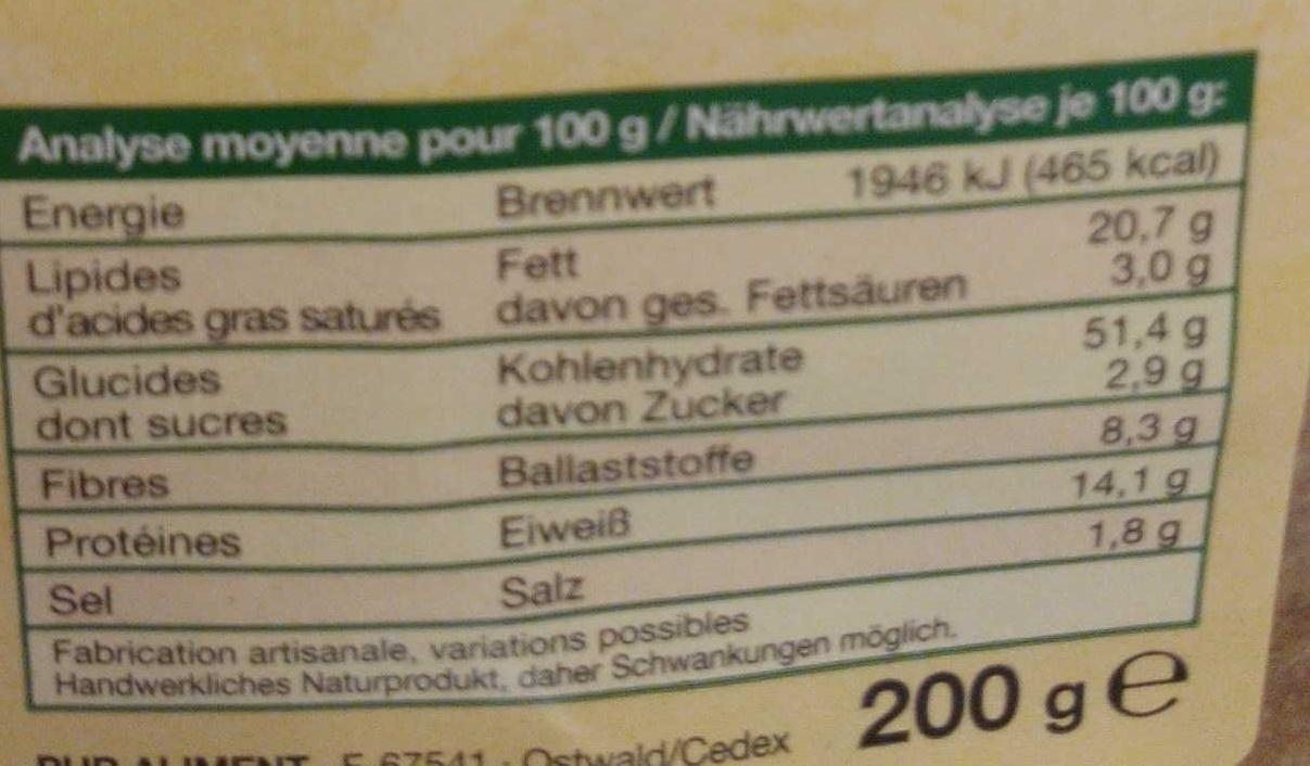 Pain croustillant classic - Nutrition facts - fr