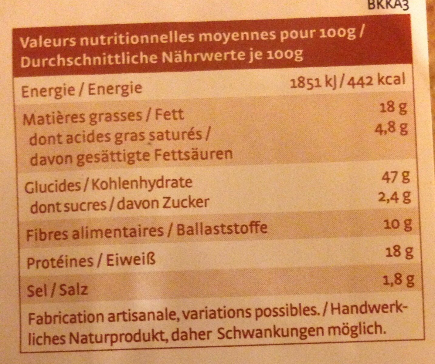 Crusty fromage graines de courge - Informations nutritionnelles - fr
