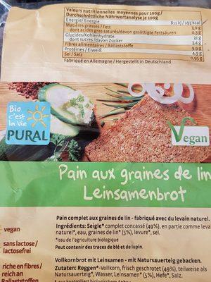 Pain aux graines de lin - Ingrédients