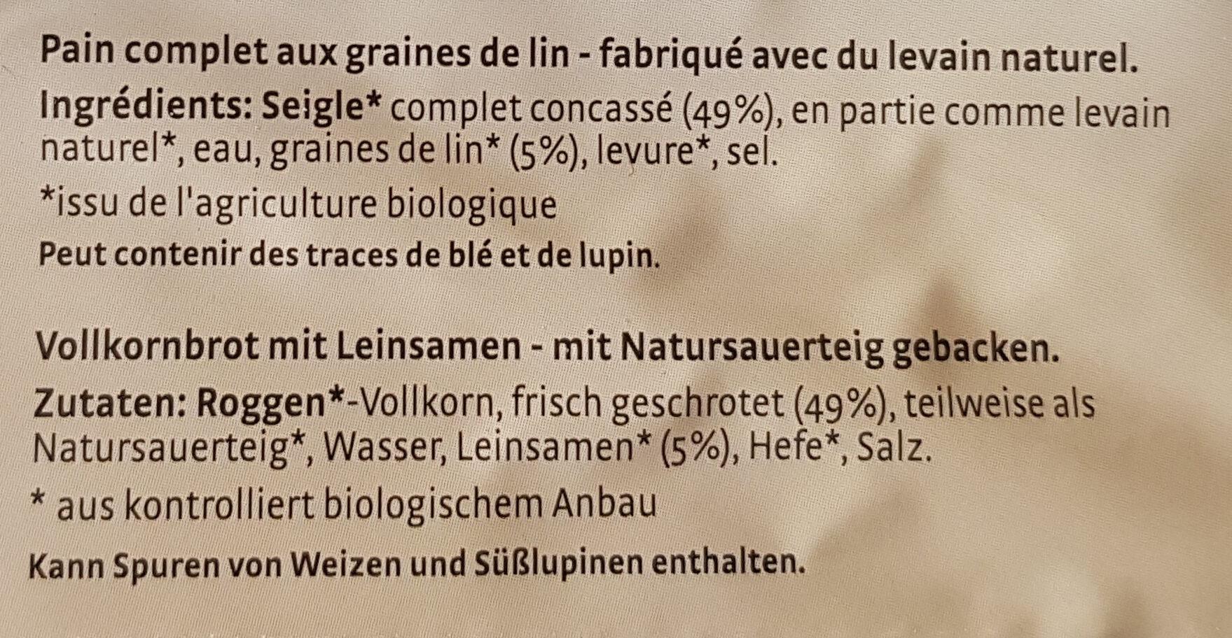Pain aux graines de lin - Ingrédients - fr