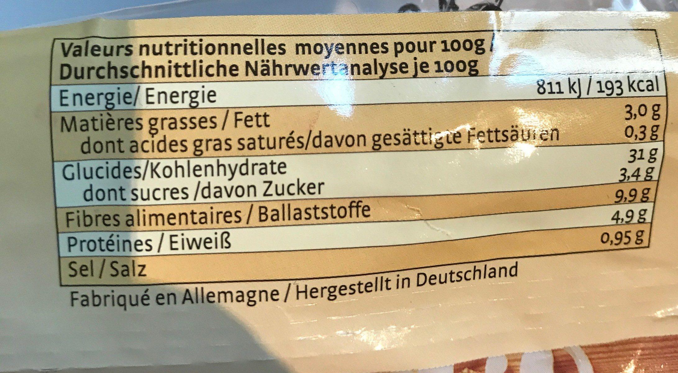 Pain aux graines de lin - Informations nutritionnelles