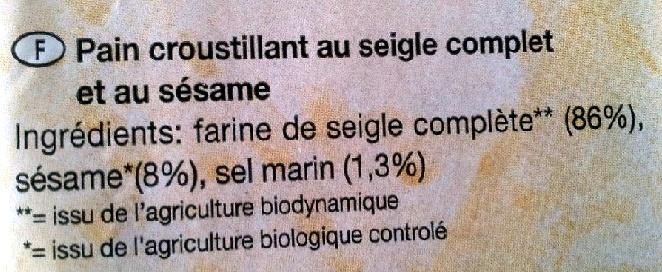 Knäcke Sésame - Ingrediënten
