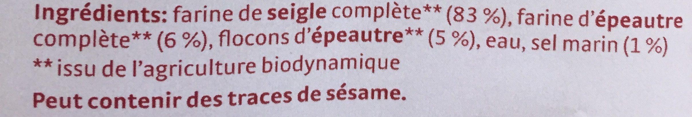 Knäcke à l'Épeautre - Ingrediënten - fr