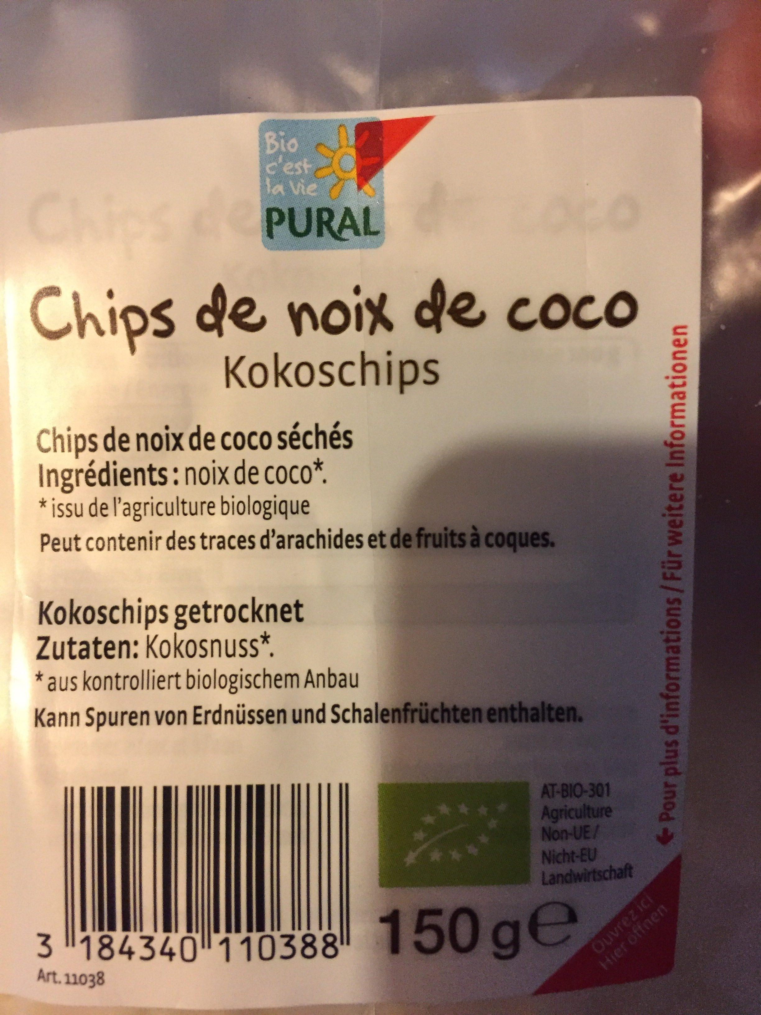 Chips De Noix De Coco Bio - 150 G - Pural - Ingrediënten