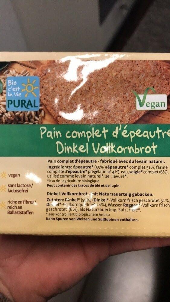 Pain complet d'épautre - Informations nutritionnelles