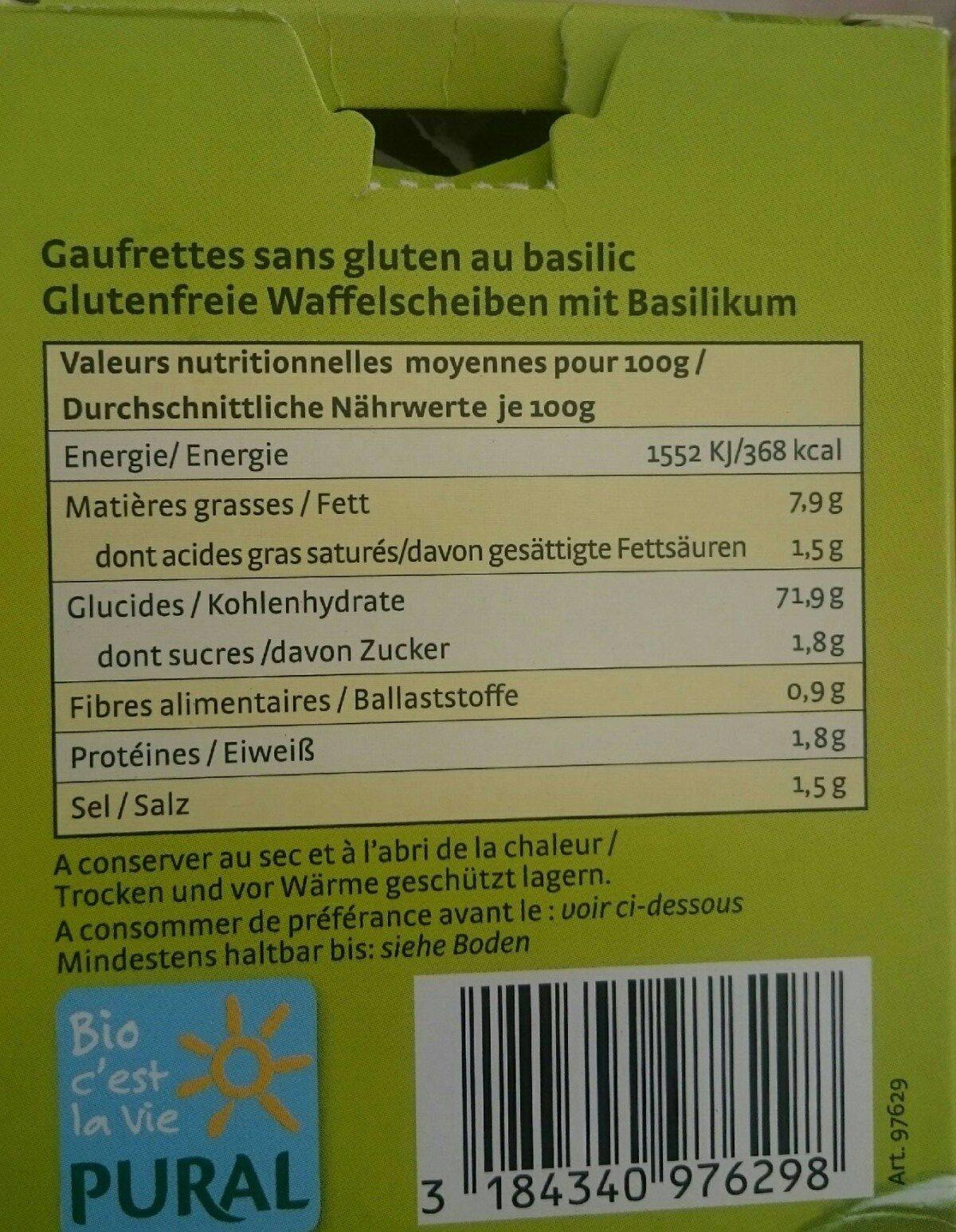 Craker Basilic - Informations nutritionnelles - fr