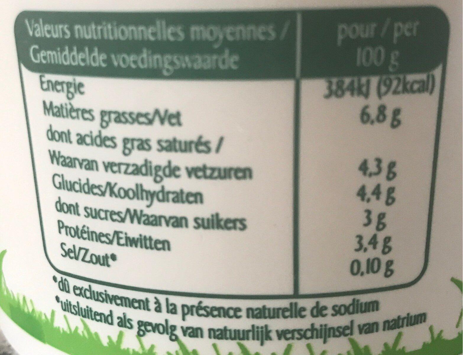500G Fromage Frais 7% Rians - حقائق غذائية - fr