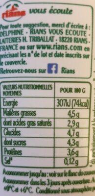 La Faisselle - Nutrition facts - fr