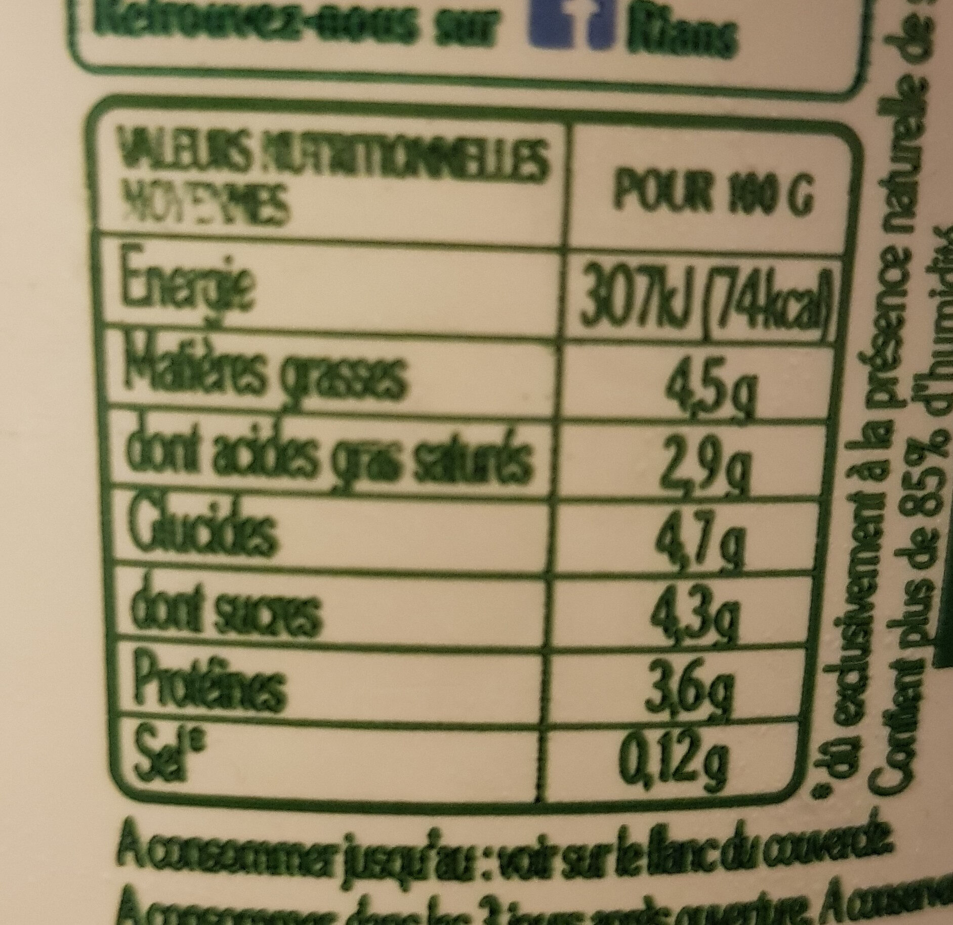 La Faisselle - Nutrition facts