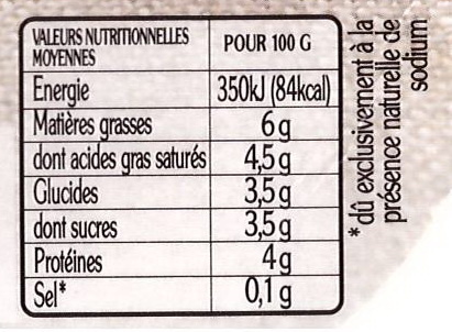 Faisselle - Nutrition facts